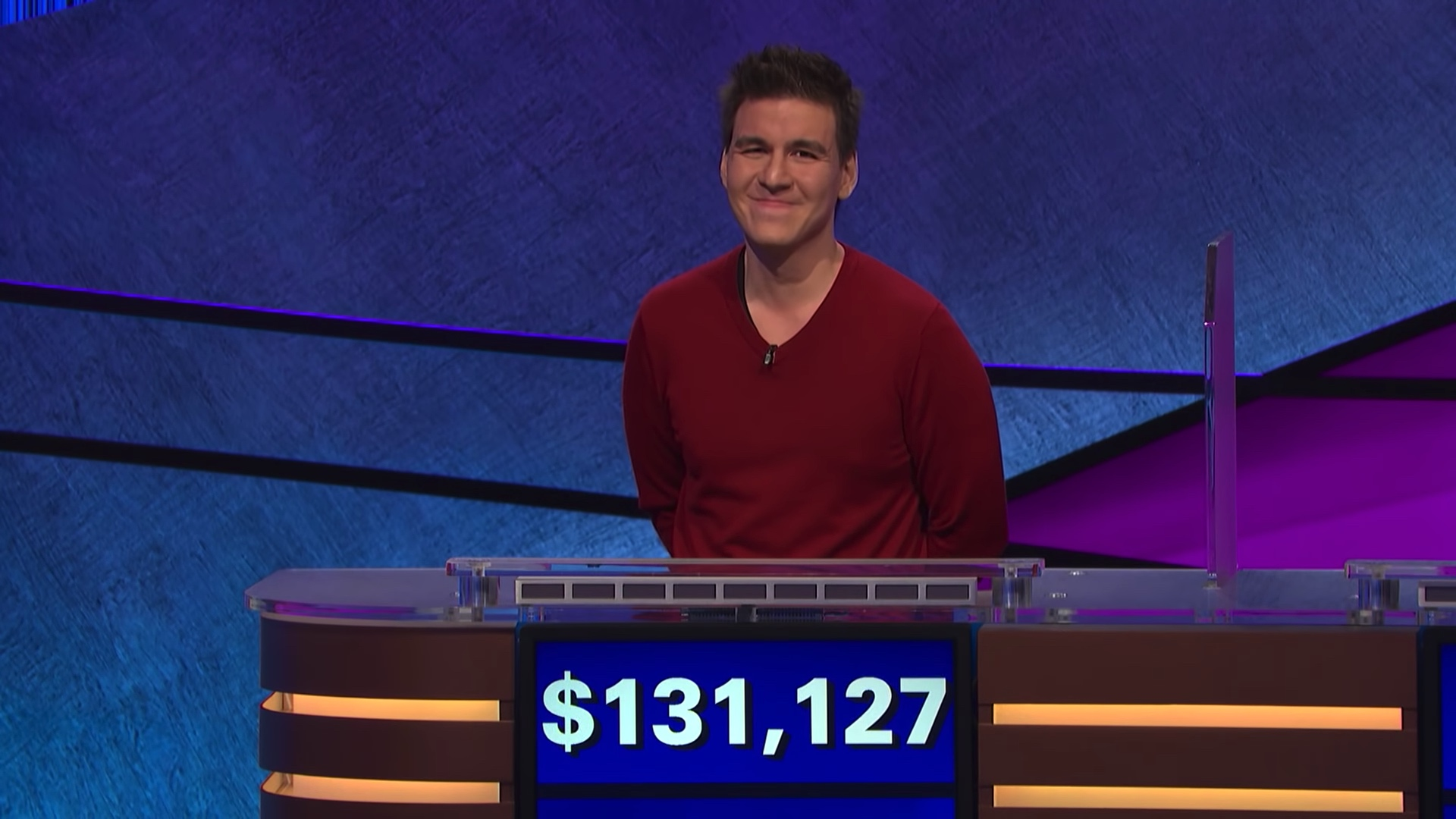 James Holzhauer smiles after winning $131,127 in a single game. Image: Sony Pictures Entertainment