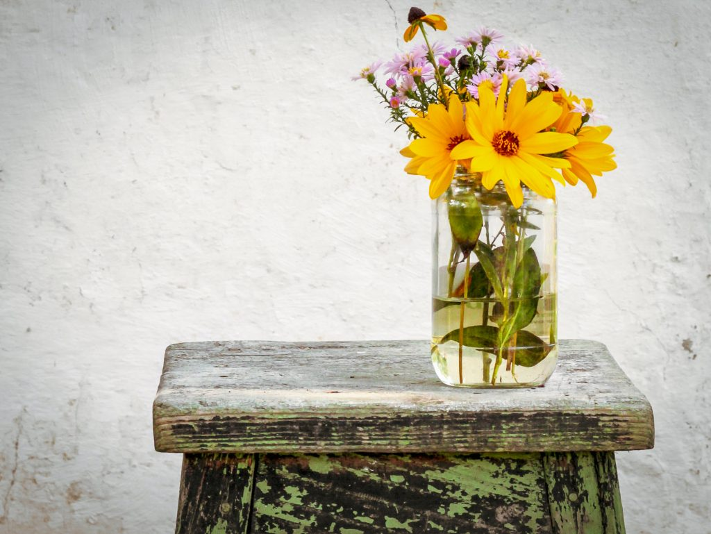 flowers on a stool