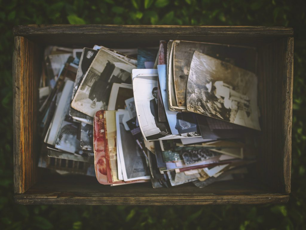 Old photos in a wooden box