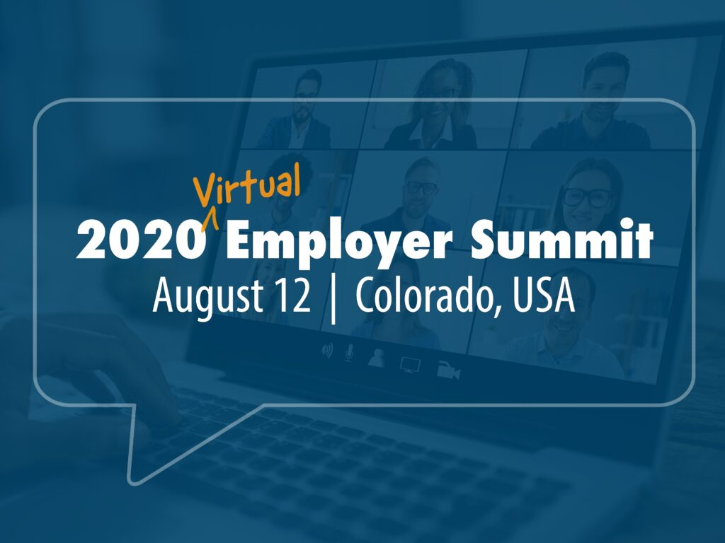 Header image for 2020 Employer Summit. Text overlaying image of videoconference in a laptop