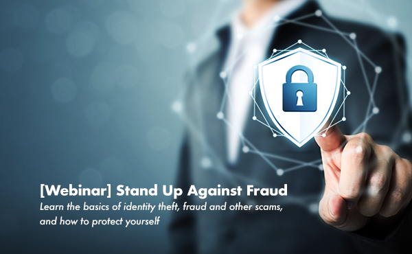 header image for fraud prevention webinar. Person touches security symbol on digital interface