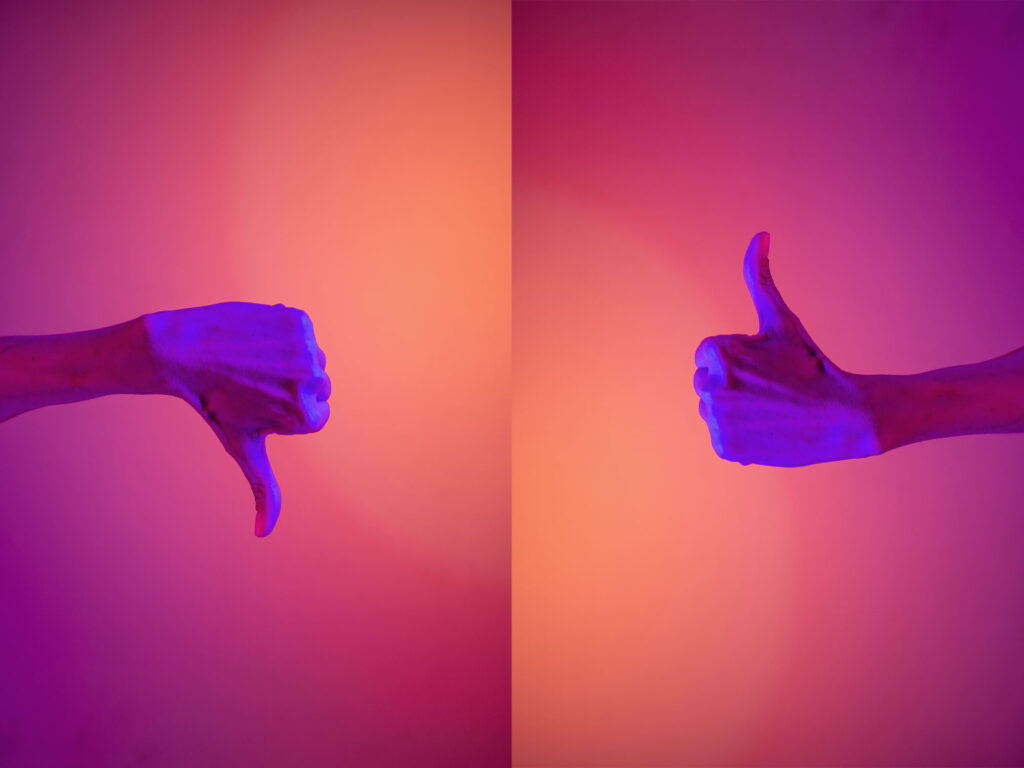 Thumbs point up and down